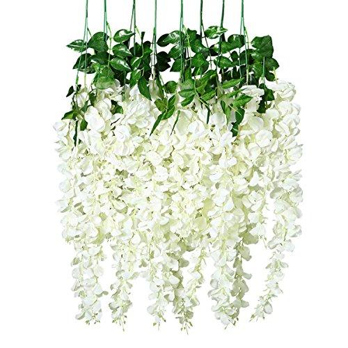 Unomor Fiori di glicine artificiali, pendenti, lunghi 30,5 cm, da utilizzare come decorazione nuziale - 8 pz. (colore: bianco)