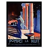 Wee Blue Coo Travel Pompeii Italy Roman Statue Vesuvius Volcano Temple Ruin Art Print Framed Poster Wall Decor 12x16 inch