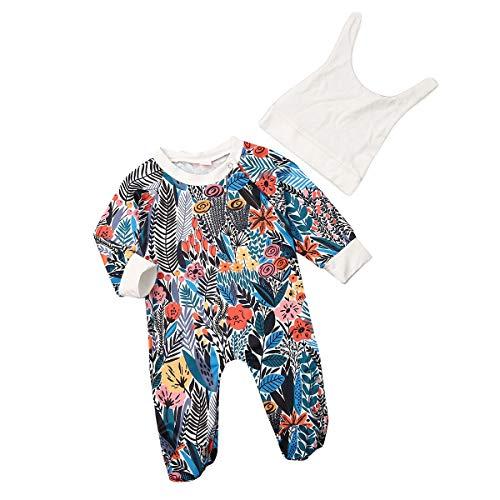 Borlai babybloemenvoetspeelpak mode overallbodysuit met hoed 0-12 maanden 9~12 Monate blauw en rood.