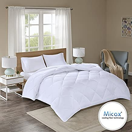 Comfort Spaces - Plush MicaX Cooling Fiber Filled Down Alernative Comforter - Duvet Insert - King/Cal-King - White,  Box stitches - Moisture Wicking,  Temperature Regulating,  Hypoallergenic - All Season