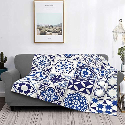 YOLIKA Decke Werfen Leicht Ultra Weich Vlies Warm,Marokkanische Lissabon Blumenmosaik Mittelmeer Marineblau Mexikanische Arabeske,Mikrofaser Alle Jahreszeiten Sofa Couch Bett Flanell Quilt,60 X 50