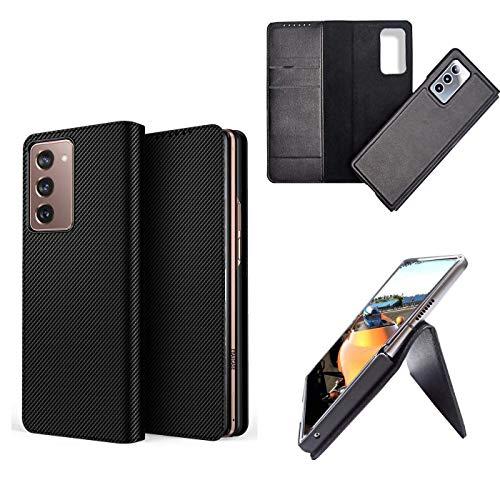 hodudu Funda de piel con función de cartera, a prueba de golpes, plegable, de lujo, ultrafina, anticaídas, compatible con Samsung Galaxy Z Fold 2 5G (fibra de carbono)