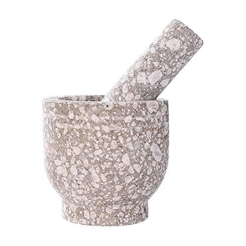 XUERUIGANG Mortero de Granito y pestillo, Piedra Natural de Granito Pesado sin pulir para un Mejor Rendimiento y orgánico excelente para moler Especias Frescas y Hierbas