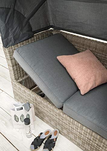 Destiny Lounge Loungegruppe Aruba Sitzgruppe Sofaset Faltdach Polyrattan (76070) - 4