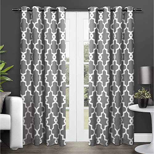 Exclusive Home Curtains Ironwork Sateen Woven Blackout Grommet Top Curtain Panel Pair, 52x84, Black Pearl, 2 Count
