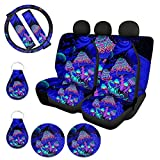 ZFRXIGN Mushroom Car Seat Cover Full Set Universal Front Rear Bench Bucket Seat Cover Accessories Steering Wheel Cover Seatbelt Strap Cover Auto Coasters+ Keychains Trippy Galaxy Purple Blue