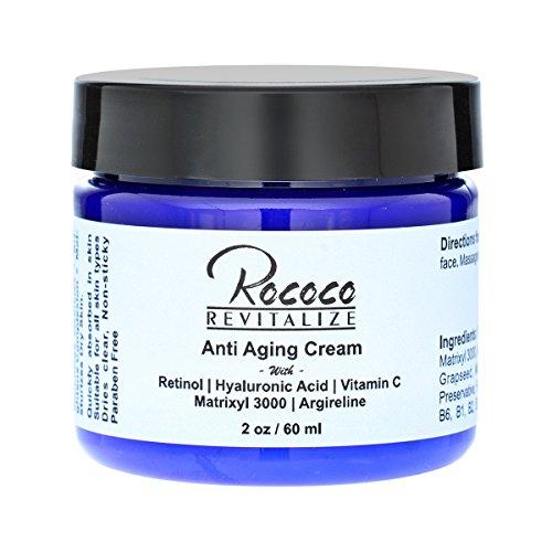 Anti Aging Cream with Retinol Vitamin a Hyaluronic Acid and Vitamin C Matrixyl 3000 Argireline Peptide - 2oz