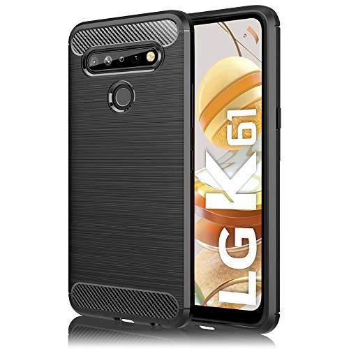 NALIA Design Case Compatible con LG K61 Funda, Mirada de Carbono Delgado Carcasa Protectora Silicona con Fibra de Carbono Textura, Slim Antichoque Cover Estuche Shock-Absorción Cubierta Suave - Negro