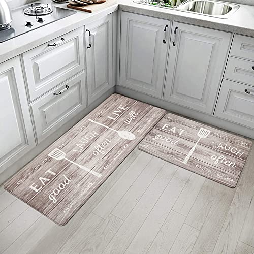 IMYOTH Anti Fatigue Kitchen Comfort Mat Set of 2 Non Slip Waterproof PVC Kitchen Rug Thick Cushioned Comfort Standing Floor Mat for Kitchen Sink Office Standing Desk (Eat Laugh Brown)