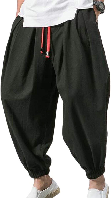 SELX Men Casual Linen Elastic Waist Drawstring Drawstring Drawstring Capri Plus Size Harem Baggy Pants e3b8e3