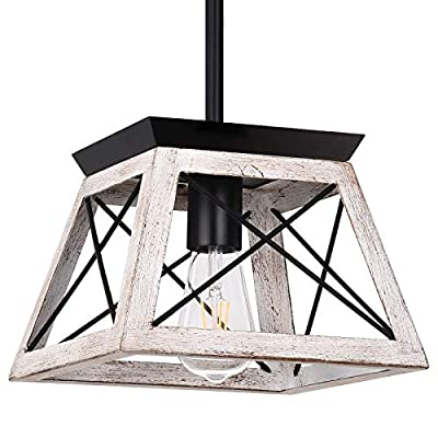 Henveton Farmhouse Pendant Light,1 Light Kitchen Island Lighting Fixtures Metal Vintage Farmhouse Chandeliers Industrial Ceiling Hanging Linear Fixture for Dining Room, Living Room and Entryway