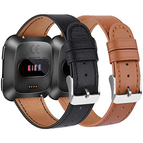 Amzpas Correa Compatible con Fitbit Versa Correa/Fitbit Versa Lite Correa, ulsera de reemplazo Ajustable de Cuero Genuino Delgado para Fitbit Versa (02 Rosa, One Size)