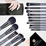 Makeup Brush Set, EIGSHOW Professional Makeup Brushes Kit Foundation Powder Concealers Eye Shadows Makeup 15 Piece for Eye Face Liquid Cream Cosmetics Brushes Kit (GREY)