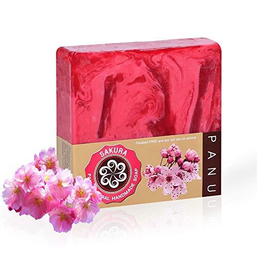 Panu Sakura Seife - Vegane Feste Seife für alle Hauttypen - Natürliches Handseife Stück - Festes Duschgel für Körper, Haut und Haar - Handgemachte Duftseife Tierversuchsfrei