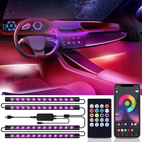 Bewahly Auto LED Innenbeleuchtung, USB Auto Innenraumbeleuchtung Ambientebeleuchtung, RGB Musik LED Strip Auto Fußraumbeleuchtung, Wasserdichte Auto Innenraum Atmosphäre Licht mit APP & Fernbedienung