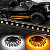 Truck LED Running Board Lights Amber Side Marker Kit with White Courtesy Light Extended Cr...