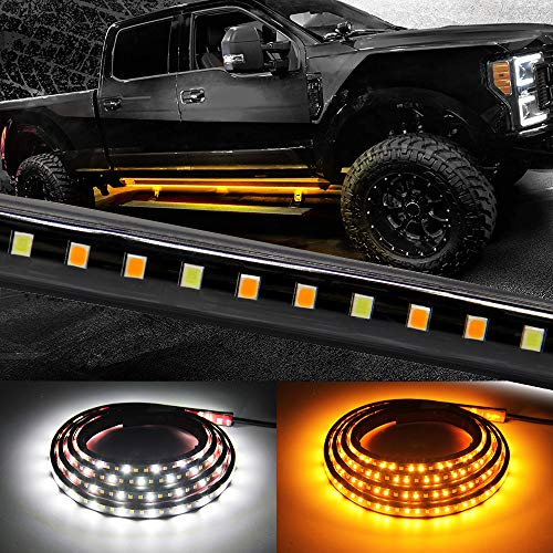 Truck LED Running Board Lights Amber Side Marker Kit with White Courtesy Light Extended Crew Cab 2pc 70Inch 216 Led Bar Bed Light Strip for Pickup Trucks SUV Cars Work Van (Board 1070)