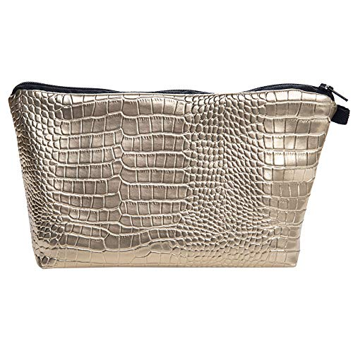 PREMYO Kosmetiktasche Klein für Handtasche - Schminktasche Damen Make Up Tasche - Federmappe Mädchen Etui Gold Glänzend
