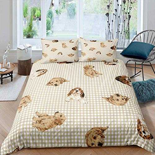 WEDSGTV Duvet Covers Pillowcases 3 Sets 100% polyester cotton, Brown checkered cute pet golden retriever dog Printed Duvet Cover Single Bed Polyester Bedding Set 3 pcs with Zipper Closure Quilt Cov