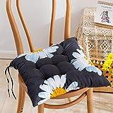 EXQULEG 4er Set Sitzkissen, Sitzkissen für Gartenstuhl, Kissen Sitzauflage Stuhlauflage mit Haltebändern für Indoor und Outdoor (45 * 45cm,M)