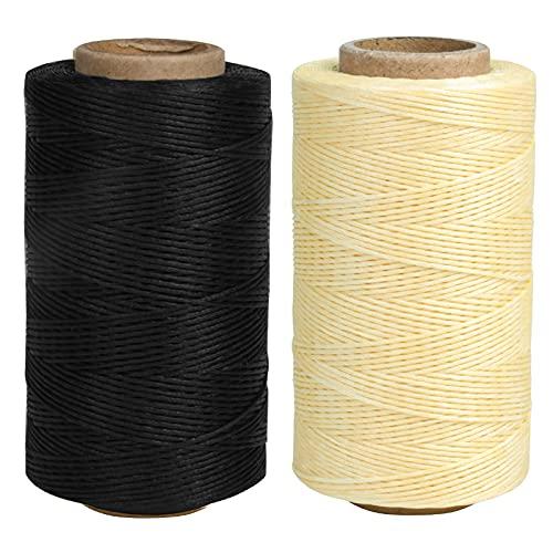 2 Piezas Hilo Encerado, Cordón Encerado para Piel 260 m, Hilo de Costura Encerada 1 mm, Cordón de Cera Trenzado para Bricolaje Pulseras Cuero a Mano, Nero + Beige