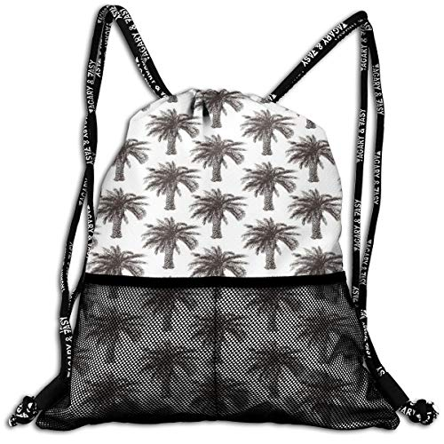 AZXGGV Drawstring Backpack Rucksack Shoulder Bags Gym Bag Sport Bag,Fully Grown Coconut Banana Trees with Retro Effect Lush Forest Foliage