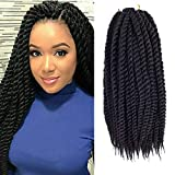 Admutty Havana Mambo Twist Crochet Hair 6 Packs 18 inch Crochet Braids Senegalese Twist Crochet Braiding Hair (1B)