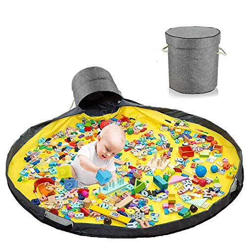 Kinder Aufräumsack Spieldecke,Aufräumsack Spieldecke,Spieldecke Outdoor Baby,Spielzeugaufbewahrung Korb,Spielzeugaufbewahrung für Kinder,Spielzeug Aufbewahrung mit Deckel (grau)