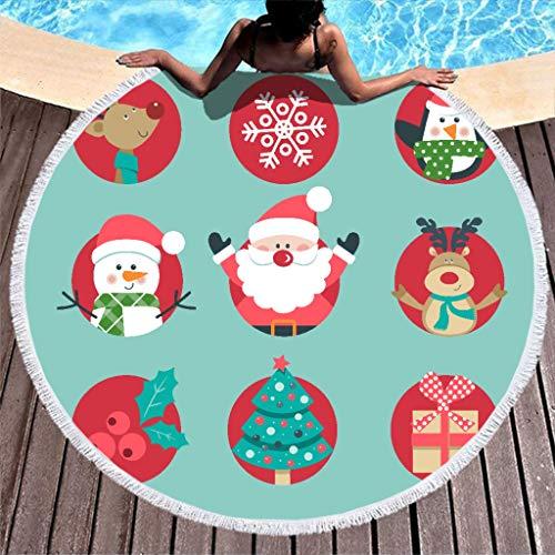 O5KFD&8 Santa Claus Soft Beach Towel Dining Table Mat Cute Floor Mat Quick Drying 150 cm, Polyester, White, 150cm