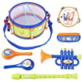 iPlay, iLearn Toddler Musical Instruments Toys, Kids Drum Set, Percussion, Tambourine, Trumpet, Maraca, Harmonica, Flute, Learning Gift for 18 Month 2 3 4 5 Year Olds Baby Boys Girls Children (Blue)