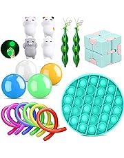 Fidget Toy Kit,Jouet Anti Stress Kit y Compris 4 Balle Anti Stress Random Color + 1 * Fidget Toy + 2 Haricots + 6 ficelles Fidget + 1 * Fidget Cube Random Color + 4 Chat Jouet