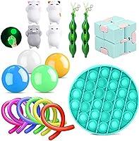 Justch Sensory Fidget Toys Set 18 Pack, Bubble Fidget+Mini Mochi Squishy+Luminous Sticky Wall Balls+Fidget Squeeze Bean...