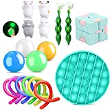 18er Anti Stress Spielzeug Set Fidget Toy Kinder Erwachsene, 4 Gobbles Sticky Balls + 1*Push Pop Pop Bubble+2 Bohnen + 6 Figet String+1*Ultimate Figdet Cube+4 Kawaii Katze Squeeze Spielzeug
