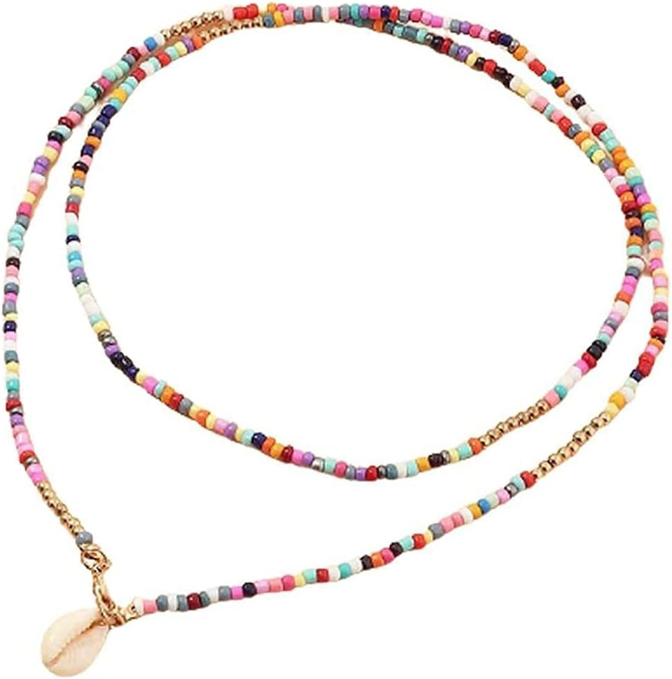 Fymini Boho Pearl Necklace Handmade Colorful Seeds Collar Clavicle Necklace for Women Girl Teen Summer Beach Jewelry Gift
