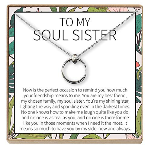Dear Ava Soul Sisters Gift Necklace: Best Friends, BFF, Long Distance, Friends Forever (2 Linked Circles Silver)