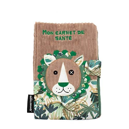 Les Déglingos - Jélékros Le Lion - Protège Carnet de Santé - Fermeture en velcro - Ludique - Cadeau Enfant et Bébé -Tissu Doux -Peluche - 25 x 18 cm