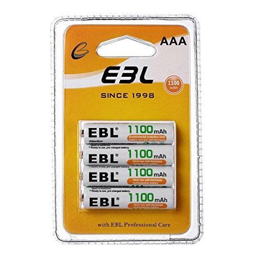 EBL Lot de 4 Piles Rechargeables AAA 1.2V 1100mAh Ni-MH, R03/ AAA Batteries avec 1200 Cycles, Nouvel Emballage
