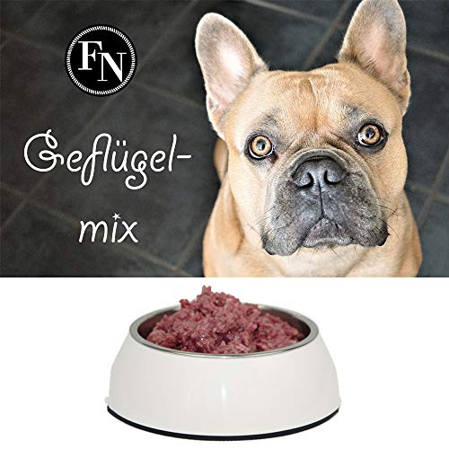 Frostfutter Nordloh Fertigbarf > Premium Geflügelmix < 20 kg (40 x 500 g), inkl. Barföl und Vitaminen, Barf Hundefutter gefroren, Frostfleisch-Paket, Gefrierfutter-Set für Hunde, Barf Frischfleisch