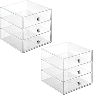 iDesign 3-Drawer Multipurpose Storage Container with Knobs, Clear, 2 Pack