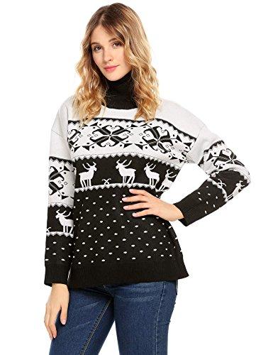 Zeela - Maglione natalizio da donna, stampa a maglia, per autunno e inverno Nero XXL