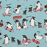 Türkiser Stoff mit Pinguinen auf Skateboards von Cosmo