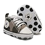 Mybbay Infant Baby Boy Girl Canvas Sneakers High Top Ankle Shoes Soft Sole First Walker Toddler Newborn Crib Shoes 05 Camouflage , 3-6 Months Infant