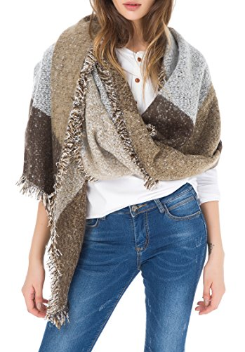 Jusfitsu Women's Fashion Warm Wool Cashmere Bevel Tassels Scarf Wrap Shawl Grey