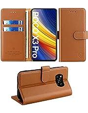 FMPC Hoes voor Xiaomi Poco X3 Pro, Wallet Serie Telefoonhoes voor Xiaomi Poco X3 NFC Premium Lederen Etui Magnetisch Flip Beschermhoes Klaphoes Tas 360 graden Schokbestendig Case Holster Bruin