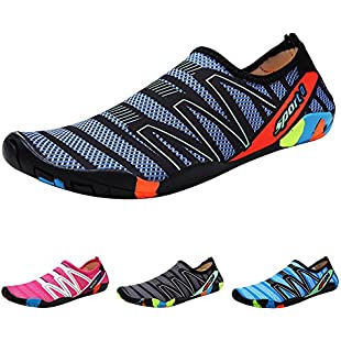 QIMAOO Barefoot Skin Shoes Water Socks, Men Women Quick Dry Water Sport Shoes, Unisex Aqua Shoes for Swim Yoga Beach Running Snorkeling Swimming Scuba Diving - Strips Green - 10.5 UK