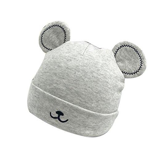 Baby Mütze Beanie,Tonsee Winter Jungen Mädchen Hut Tiere Design Soft Wollene Hüte Kinder Cap Unisex Einfabrig und Streifen (Grau)