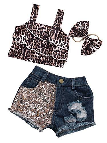 3PCs Toddler Newborn Baby Girl Clothes Set Outfit Senza Maniche Sling Crop Top T-Shirt Leopardata a Vita...