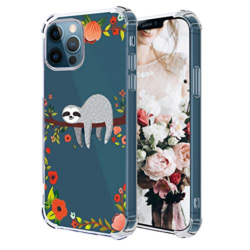 Hepix Compatible with Sloth iPhone 12 Pro Case iPhone 12 Clear Case, Funny Cute Sloth Hanging on Tree Pattern Protective Slim Flexible TPU Cover with Bumpers Anti-Scratch for iPhone 12 Pro/12 6.1''