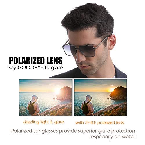 Square polarized sunglasses for men – Oversized Aviator Metal Frame – Gradient UV Protection Lenses (Gold   Brown Gradient)