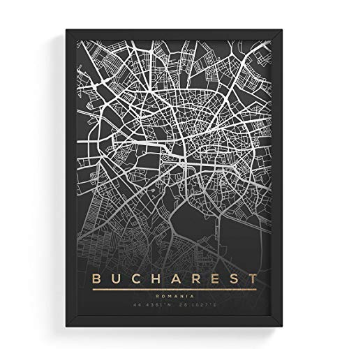 Posterdruck – Moderne Wandkunst für Wohnzimmer Schlafzimmer Dekoration für zu Hause Stadtkarte Map of Bucharest Romania Cityescape A3 Wandbild (297×420 mm) ungerahmt Poster Print